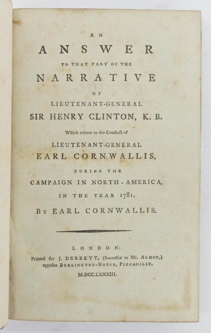 Earl Cornwallis 1783 ''An Answer to the Narrative - 3