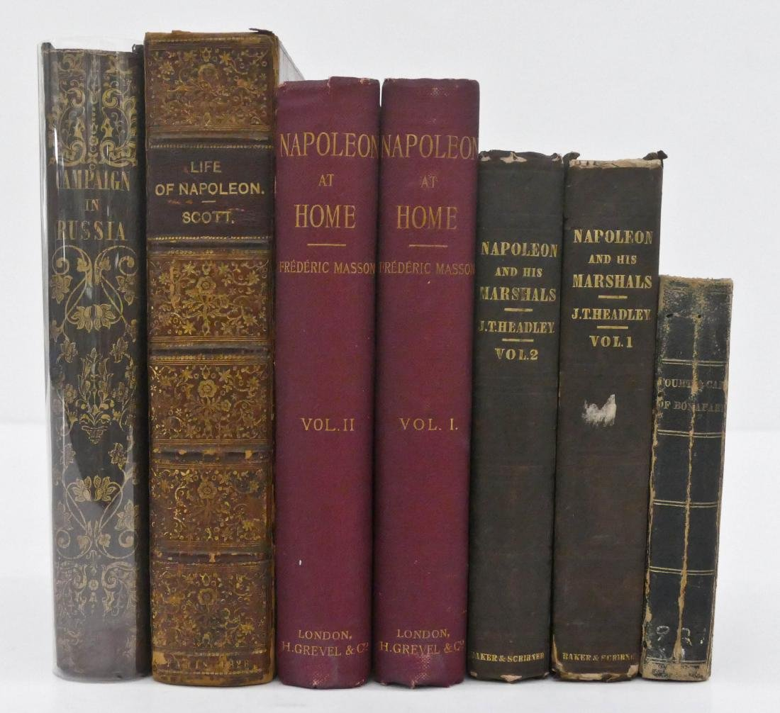 7pc Antique Napoleon History Books. Includes