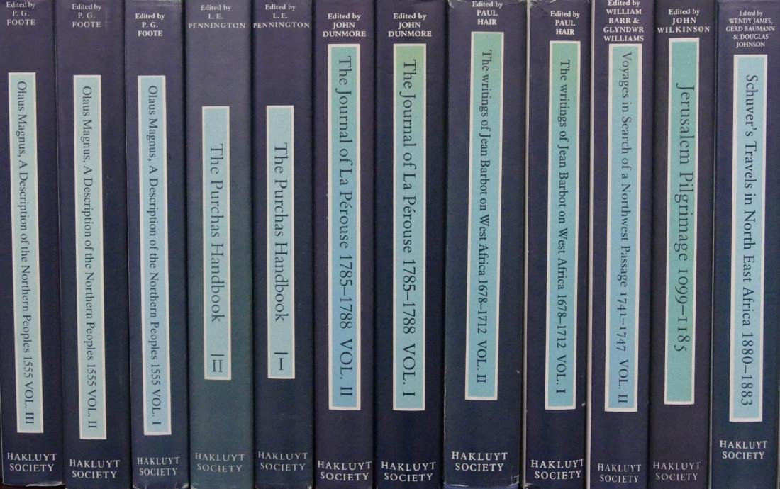 21pc Hakluyt Society Exploration Books. Includes The