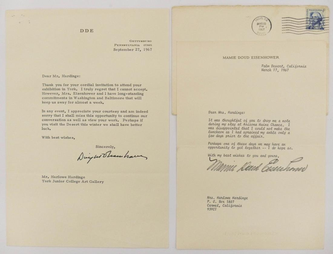 2pc Dwight & Mamie Eisenhower 1967 Signed Letters. - 2