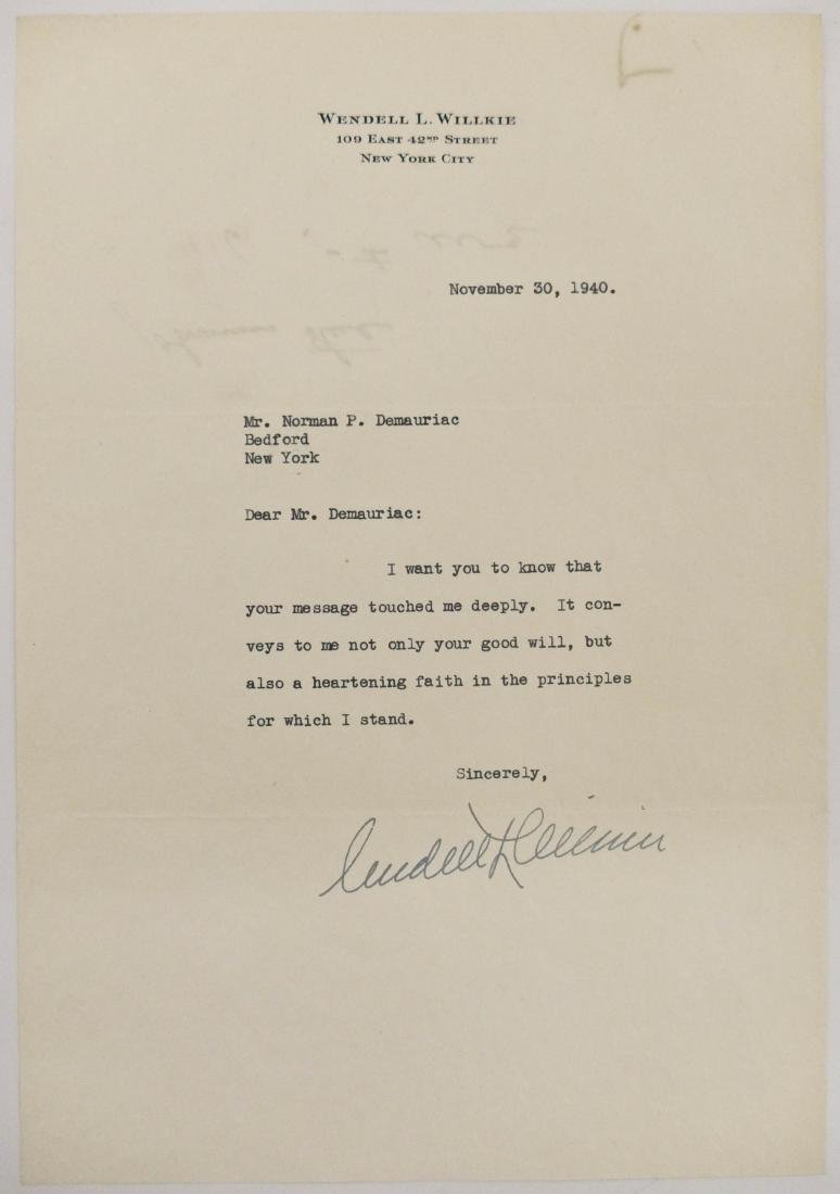 Wendell Willkie 1940 Signed Letter. An ALS signed in
