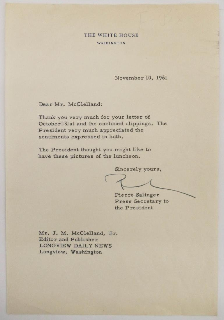 Pierre Salinger 1961 Signed White House Letter. An ALS