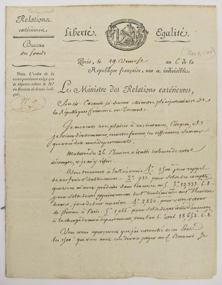 Charles Maruice de Tallyrand 1798 Autographed Letter