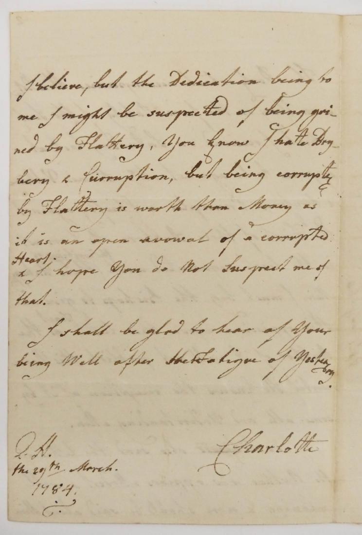 Charlotte Queen Consort of George III 1784 Autographed