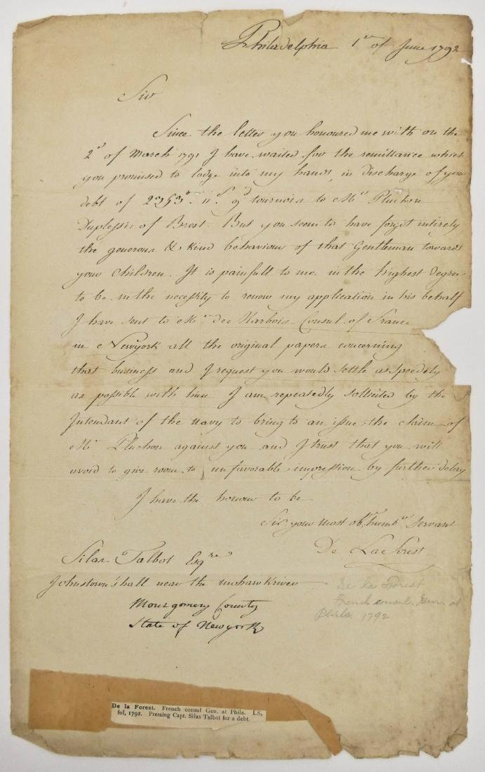 De La Forest 1792 French Consult Autographed Letter