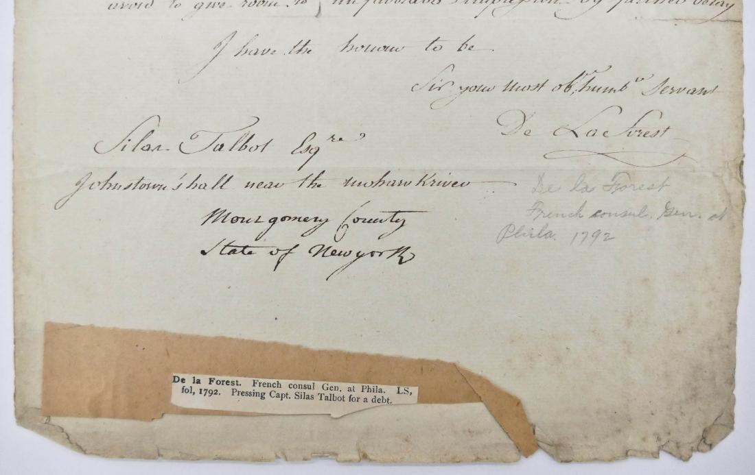 De La Forest 1792 French Consult Autographed Letter - 2