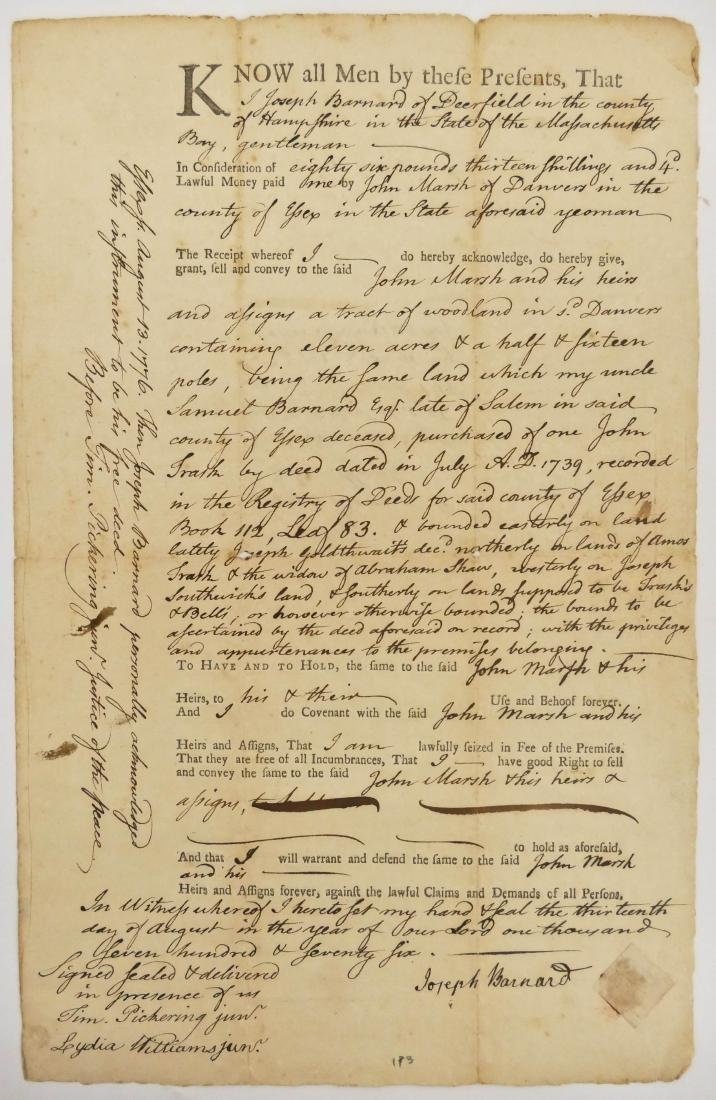 Massachusetts 1776 Land Indenture Document 13''x8.25''.