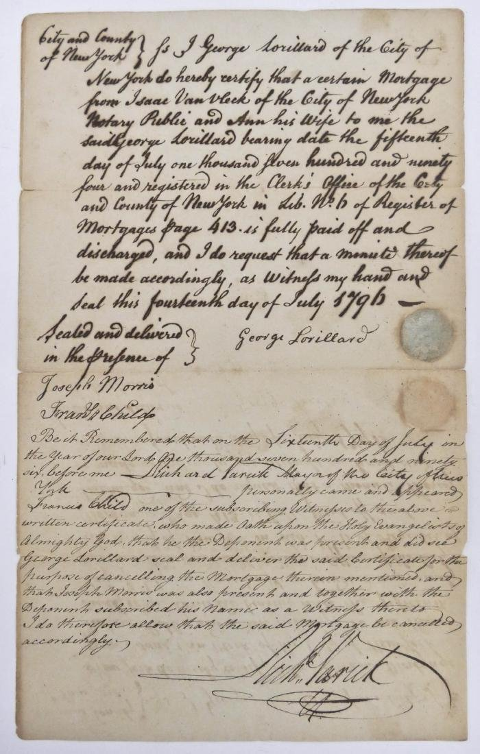New York 1796 Mortgage Document 13''x8''. A