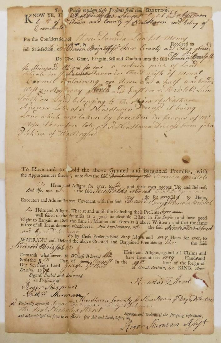 Roger Sherman 1771 Autographed Land Grant Document