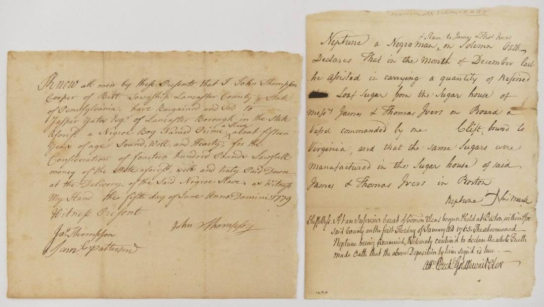 2pc American Slavery 18th Century Documents. Includes a