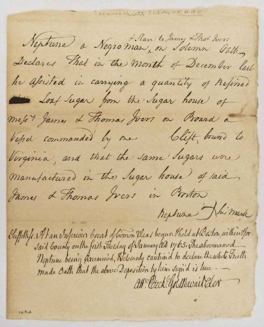 2pc American Slavery 18th Century Documents. Includes a - 2