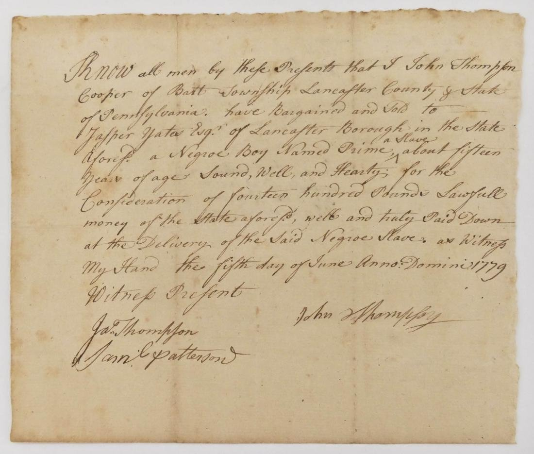 2pc American Slavery 18th Century Documents. Includes a - 3