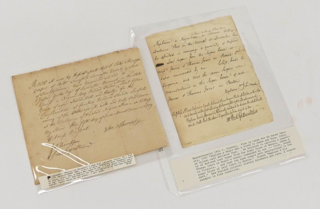 2pc American Slavery 18th Century Documents. Includes a - 4