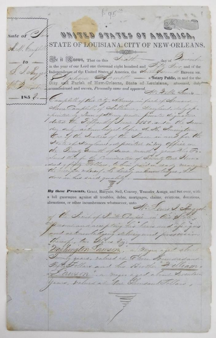 New Orleans 1852 Slave Trade Document 13''x8''. A