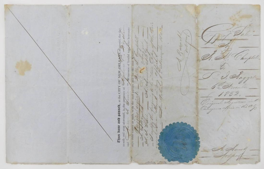 New Orleans 1852 Slave Trade Document 13''x8''. A - 2