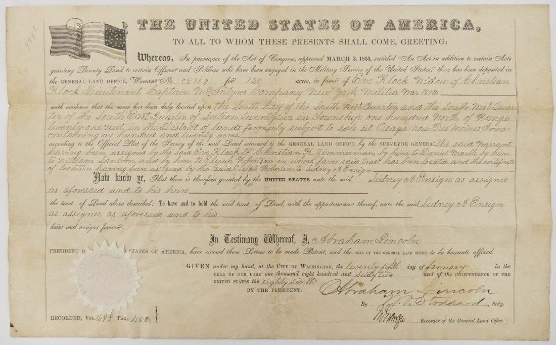 Abraham Lincoln 1862 Land Grant Document 10''x16''. For