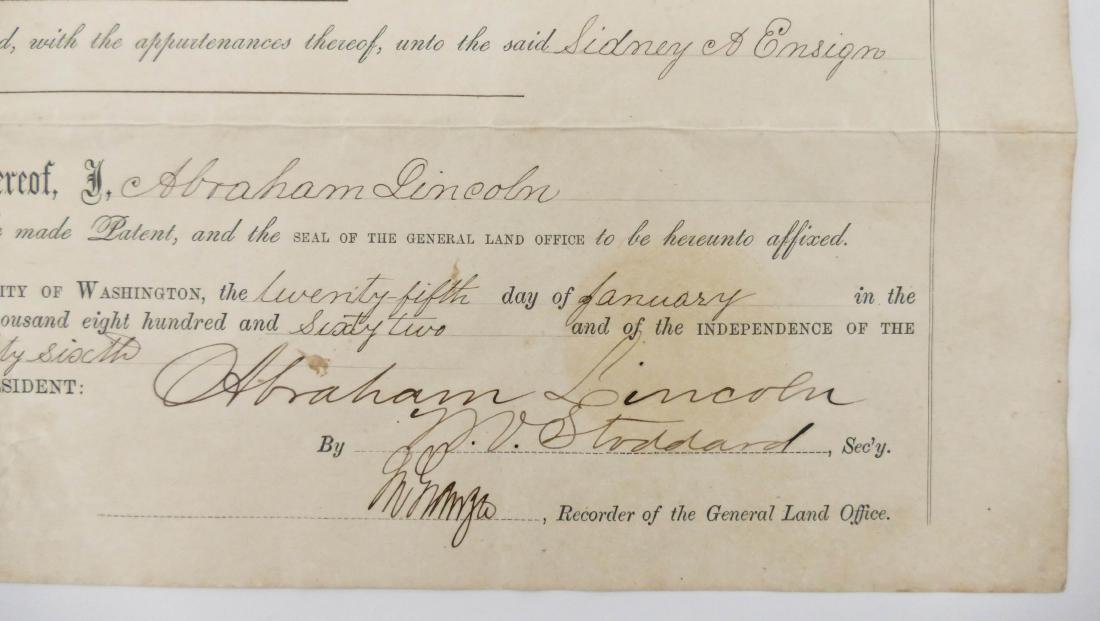 Abraham Lincoln 1862 Land Grant Document 10''x16''. For - 2