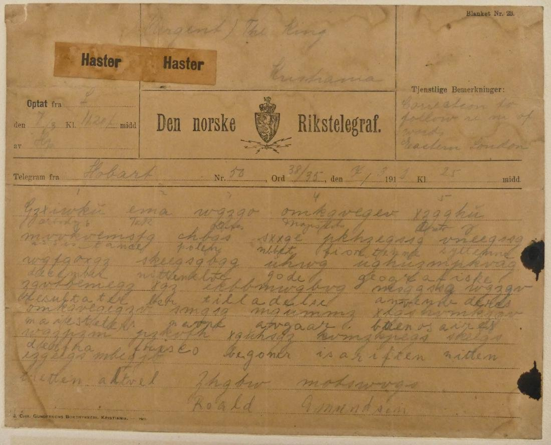 Important Roald Amundsen 1912 Norwegian Telegram to the