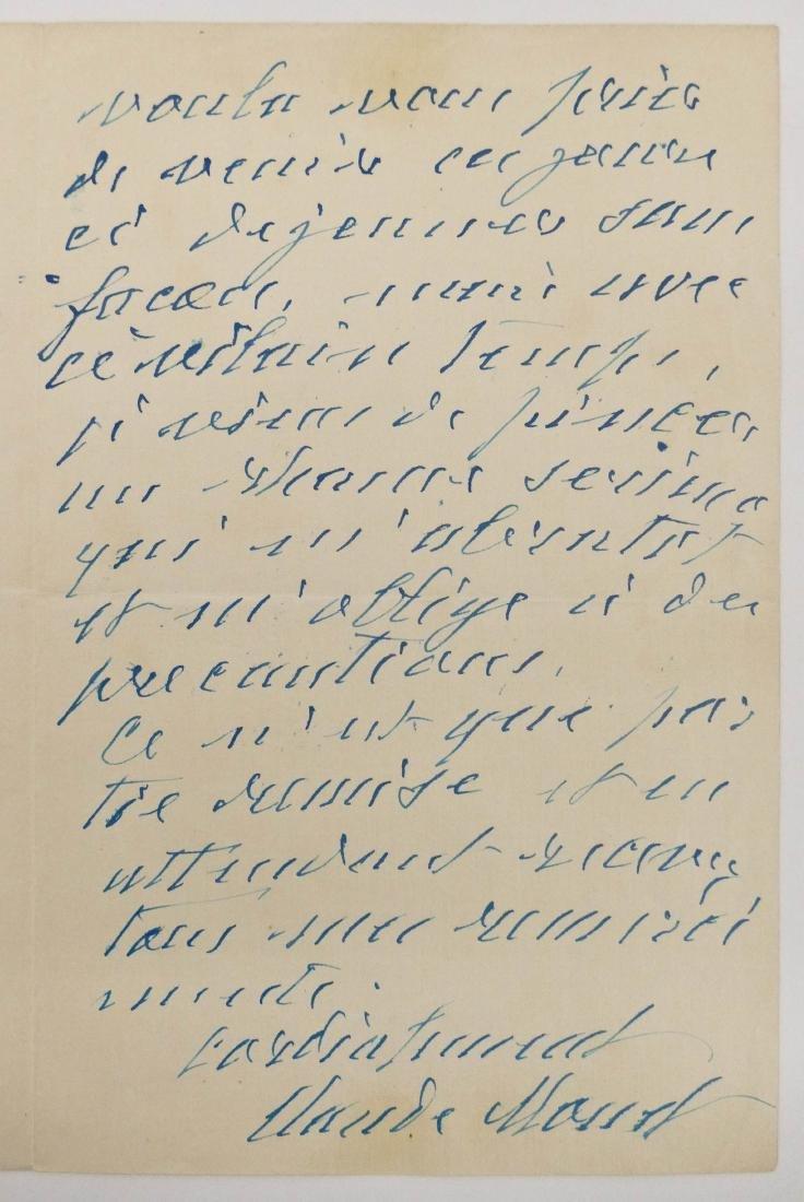 Claude Monet 1922 Autographed Letter Signed 8''x10.5''.