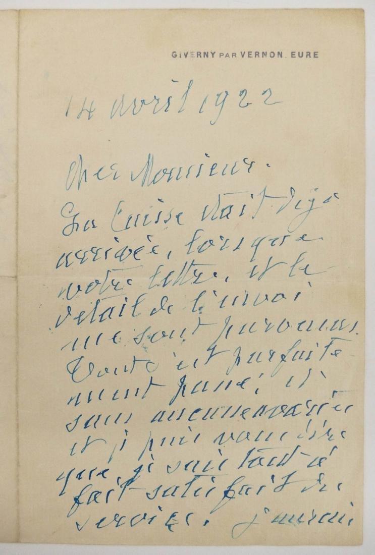 Claude Monet 1922 Autographed Letter Signed 8''x10.5''. - 2