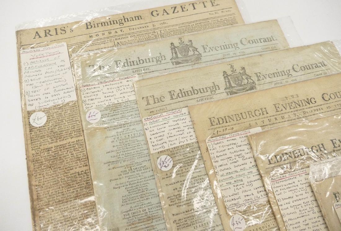 10pc English American Revolution Era Newspapers.