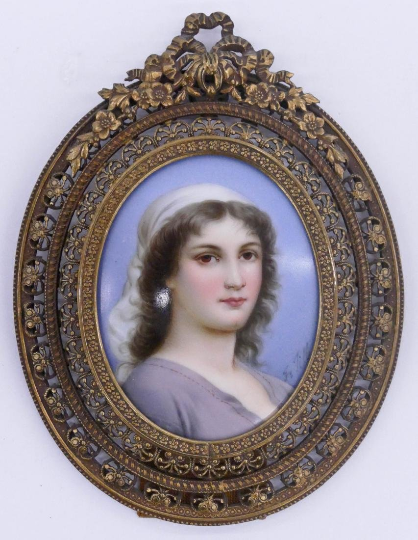 Antique Miniature Portrait on Porcelain Painting