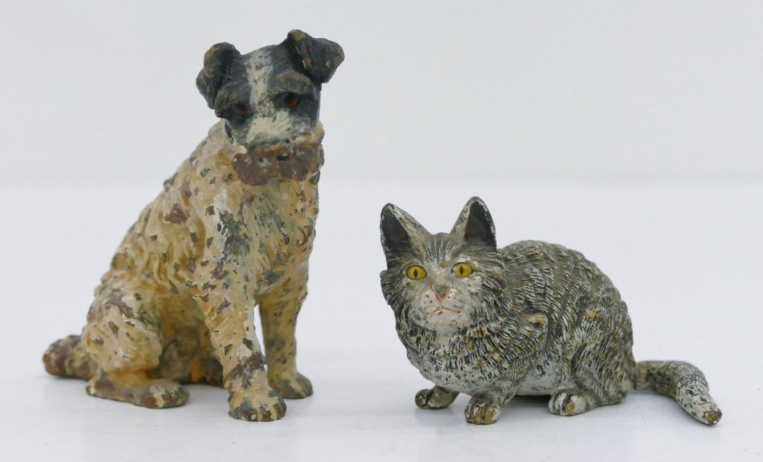 2pc Antique Austrian Bronze Dog & Cat Miniatures.