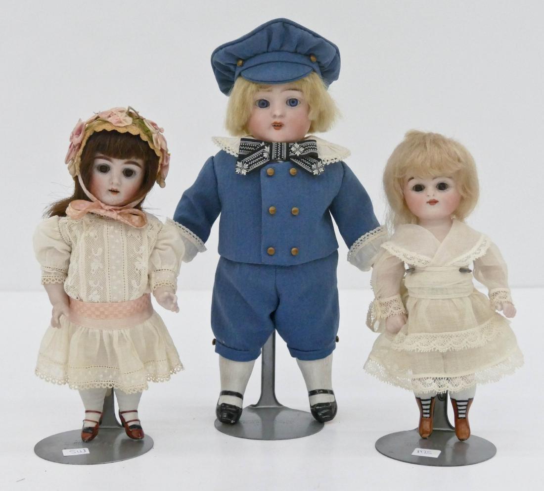 3pc Antique German Bisque Head Dolls. Includes a 10''