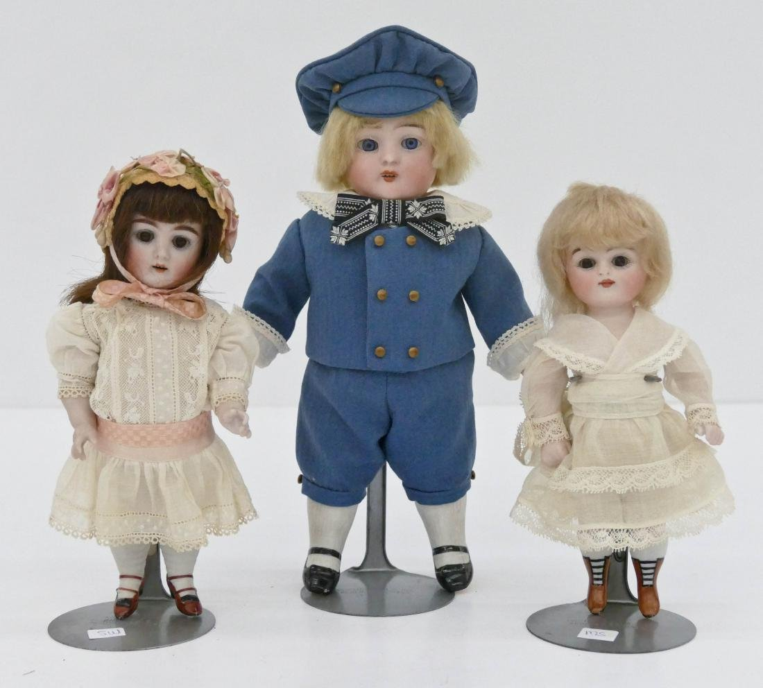 3pc Antique German Bisque Head Dolls. Includes a 10''