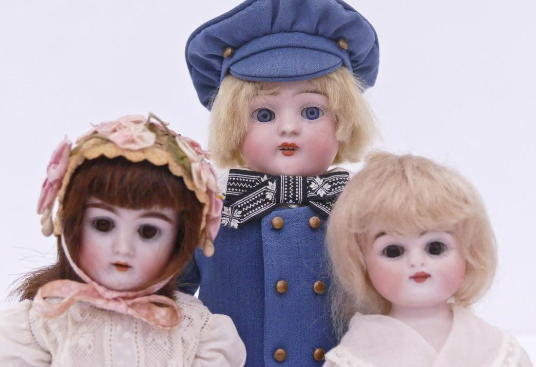 3pc Antique German Bisque Head Dolls. Includes a 10'' - 2
