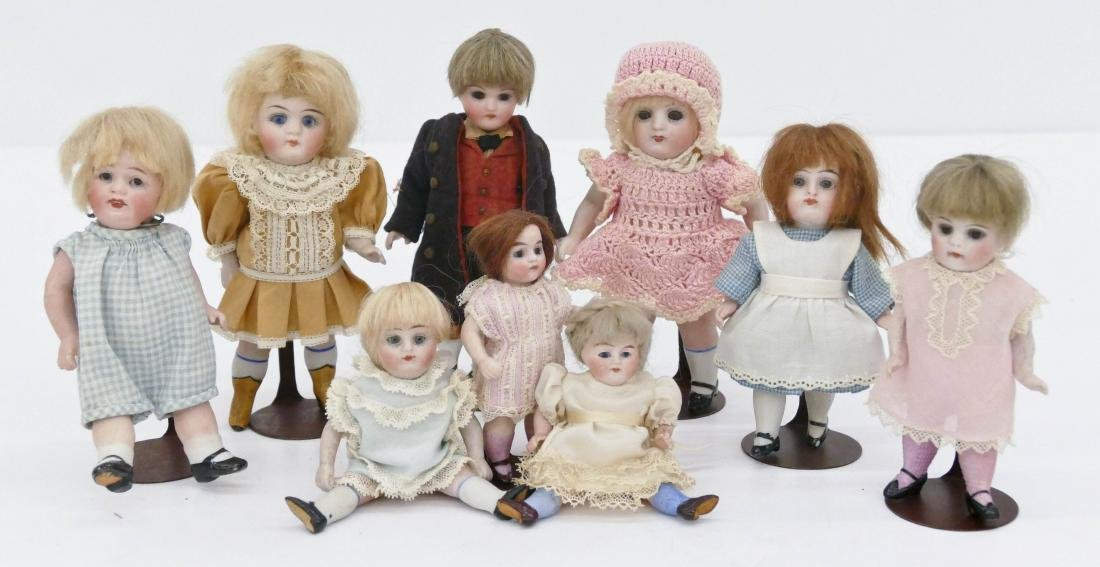9pc Antique German Bisque Miniature Dolls. Sizes range