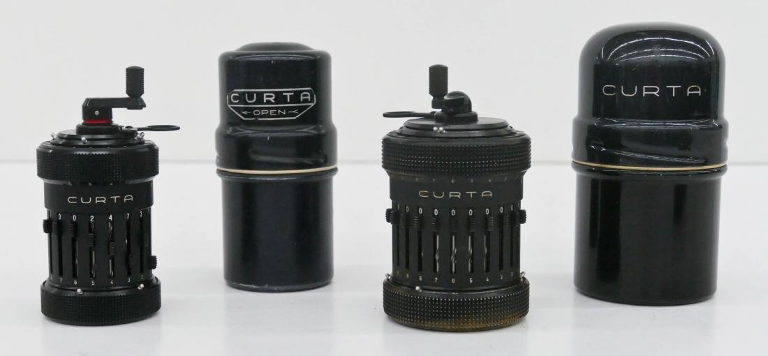 2pc Curta Mechanical Calculators in Cases. Includes a