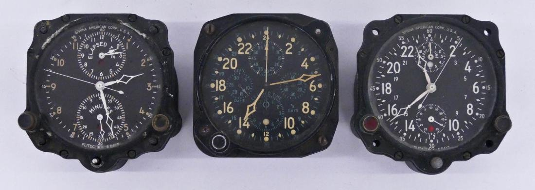 3pc WWII Hamilton & Sphinx American Aircraft Clocks.