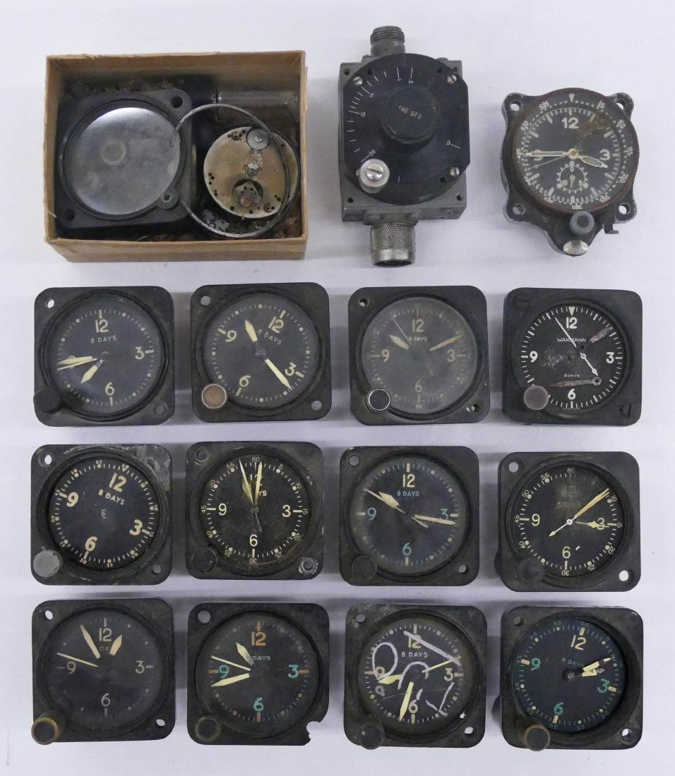 13pc WWII Small Aircraft Clocks. Includes pieces by