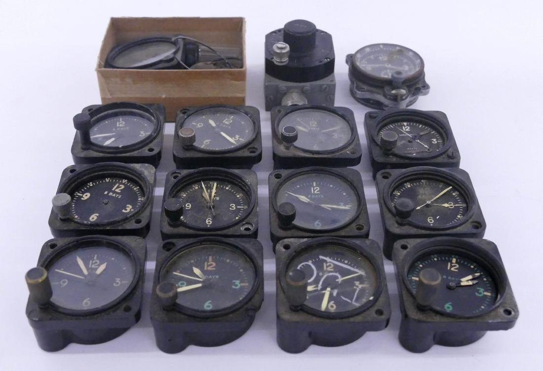 13pc WWII Small Aircraft Clocks. Includes pieces by - 2