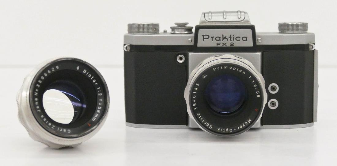 Praktica FX2 Camera with Zeiss Lenses. Includes a Meyer