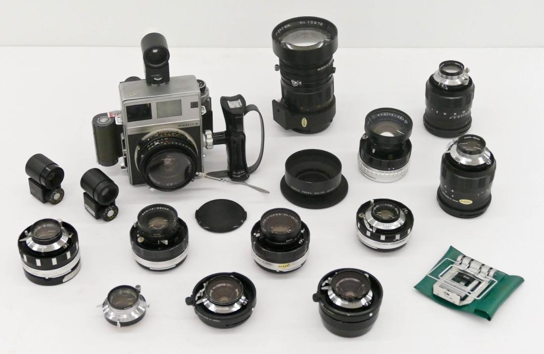 Mamiya Super 23 Press Camera Outfit with Many Lenses.