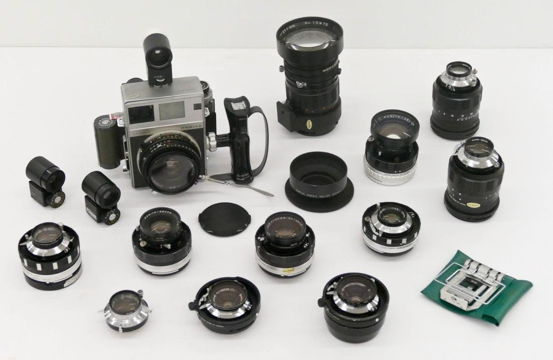 Mamiya Super 23 Press Camera Outfit with Many Lenses.