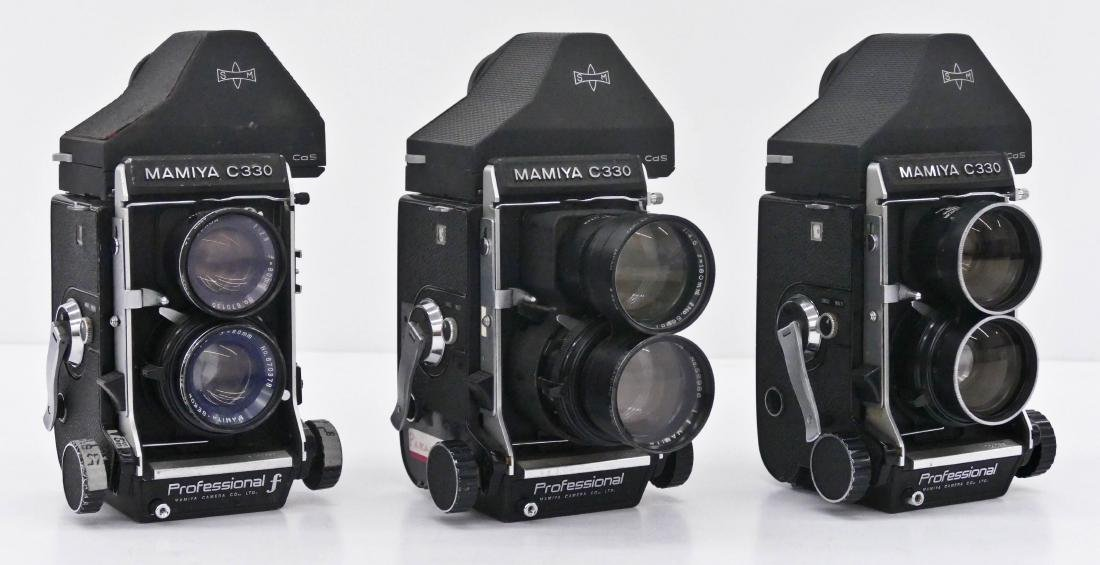 3pc Mamiya C330 TLR Professional Cameras with Lenses.