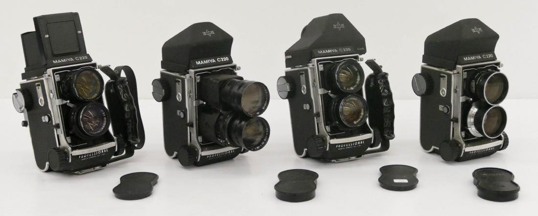 4pc Mamiya C220 TLR Professional Cameras with Lenses.