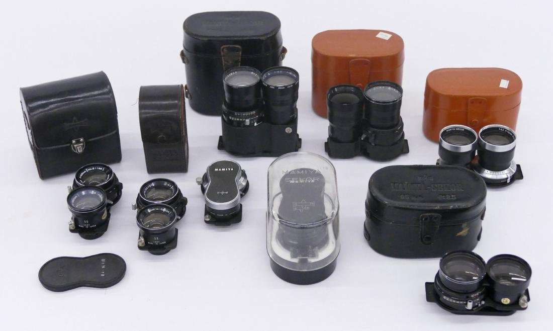 Large Group of Mamiya TLR Lenses & Accessories. Lot