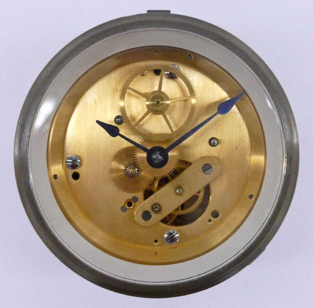 Fine Machined Brass Ship's Clock 3''x5''. Likely a
