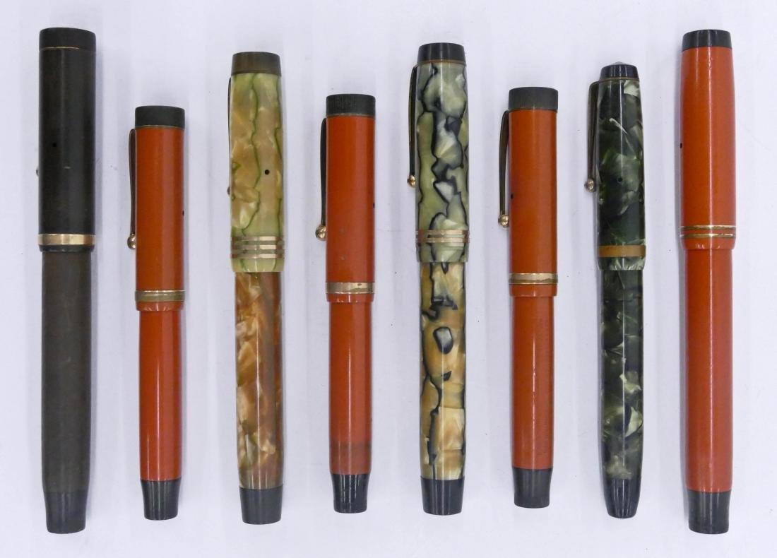 8pc Vintage Parker Large Fountain Pens. Sizes range