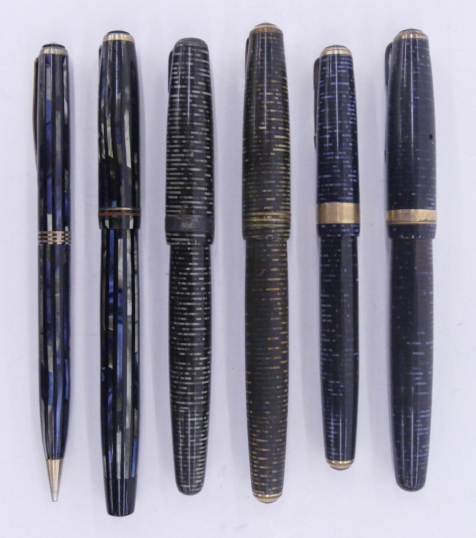 6pc Vintage Parker Fountain Pens. Includes