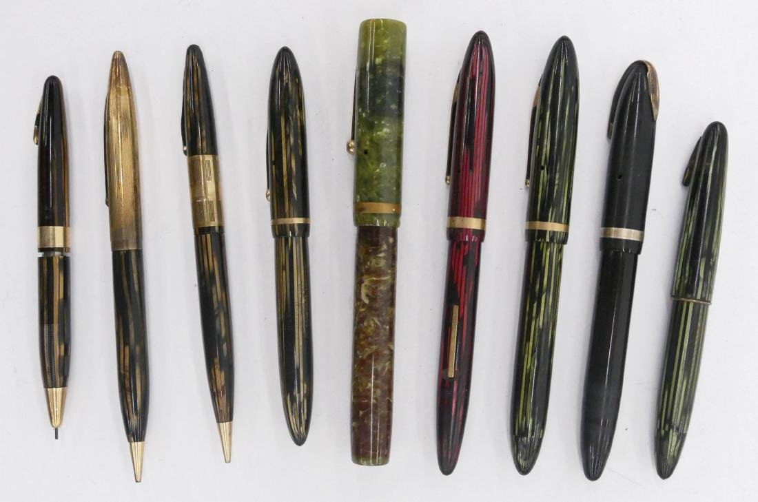 9pc Vintage Sheaffer Fountain Pens & Pencils. Includes