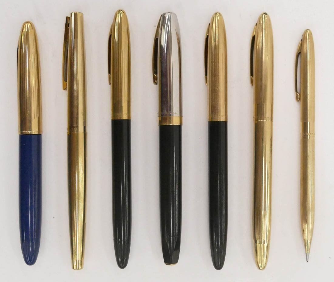 7pc Vintage Sheaffer Gold Filled Fountain Pens. Sizes