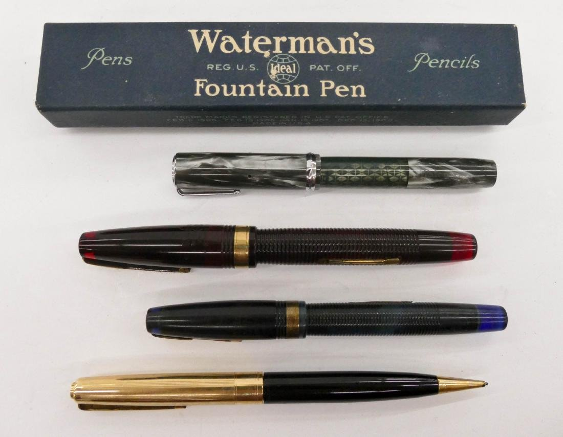 4pc Vintage Waterman Fountain Pens. Includes one in its