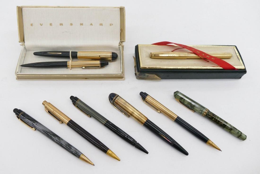 9pc Vintage Eversharp Fountain Pens & Pencils. Includes