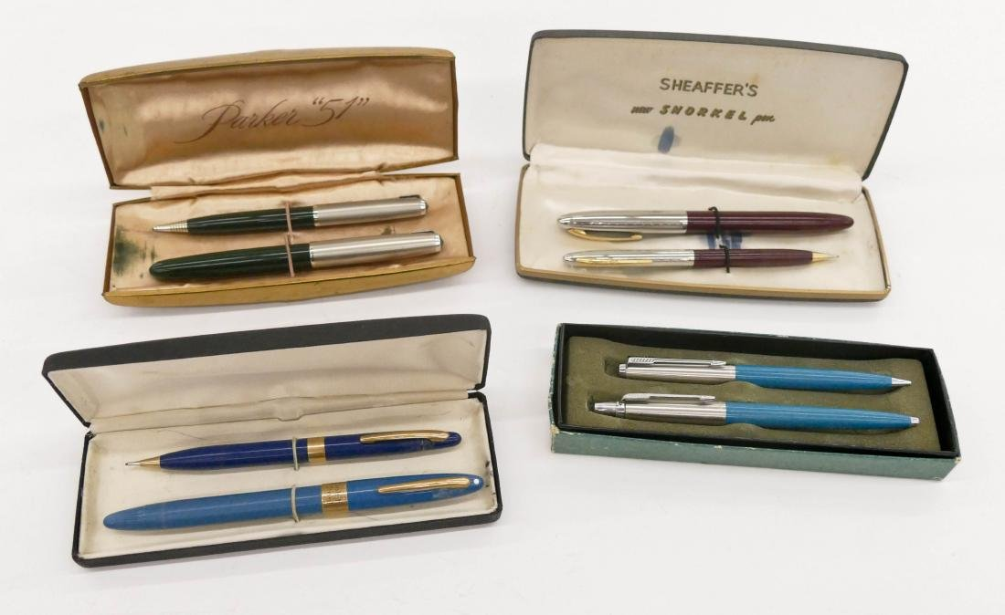 4pc Sheaffer & Parker Pen Sets in Boxes. Includes a