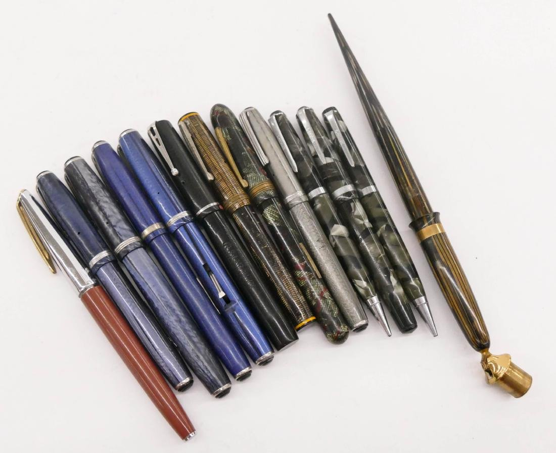 13pc Misc Vintage Fountain Pens. Includes Waterman,